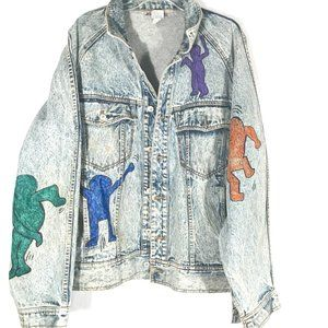 Jordache Jeans Acid Wash Keith Haring Jacket VTG